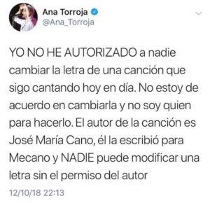 Tweet de Ana Torroja sobre mariconez